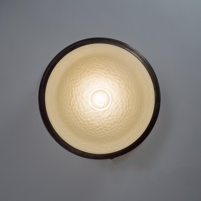 Art Deco Flush Mount, circa 1920, Brass and Satin Textured Glass For Sale 5