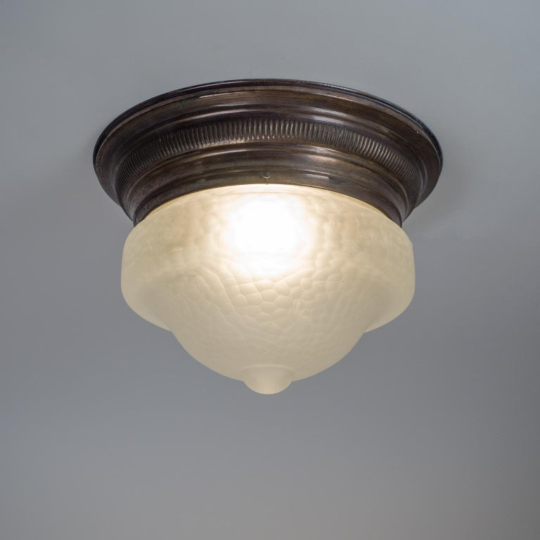 Art Deco Flush Mount, circa 1920, Brass and Satin Textured Glass For Sale 6