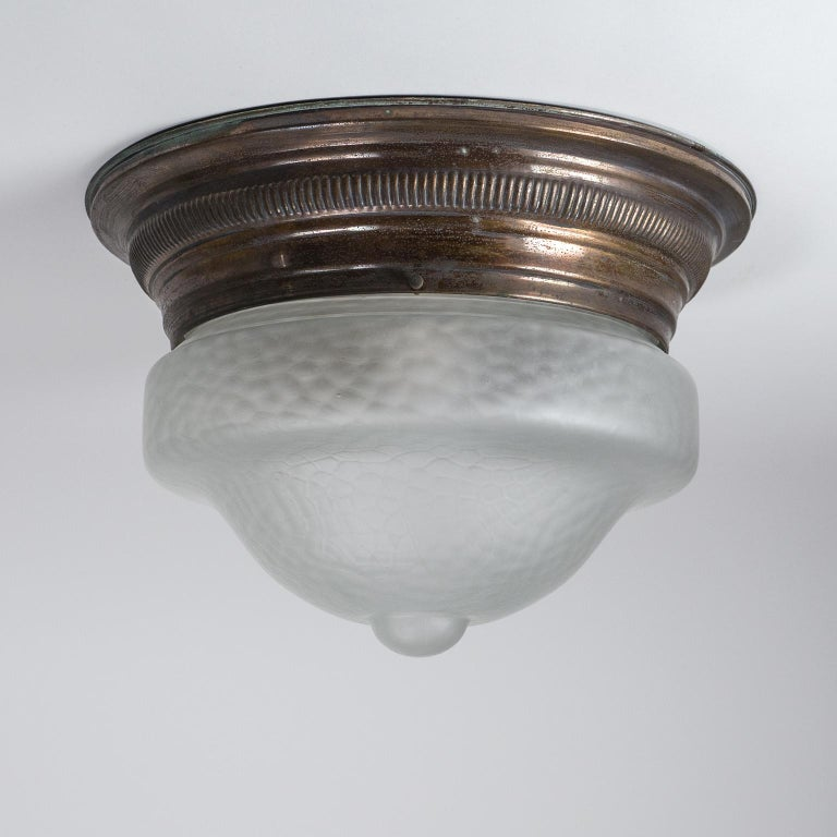 Art Deco Flush Mount, circa 1920, Brass and Satin Textured Glass For Sale 7