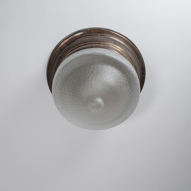Art Deco Flush Mount, circa 1920, Brass and Satin Textured Glass For Sale 10