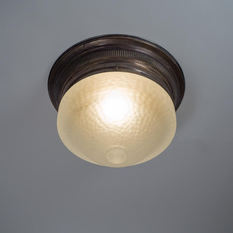 Art Deco Flush Mount, circa 1920, Brass and Satin Textured Glass In Good Condition For Sale In Vienna, AT