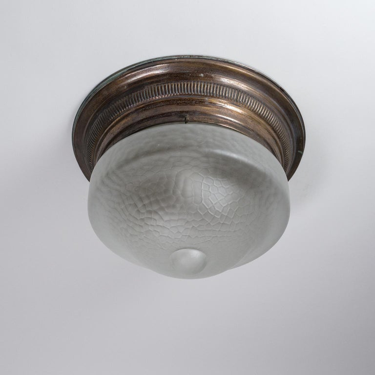 Early 20th Century Art Deco Flush Mount, circa 1920, Brass and Satin Textured Glass For Sale