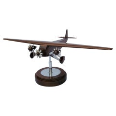 Art Deco Ford Trimotor Desk Airplane Wooden Model, ca. 1925