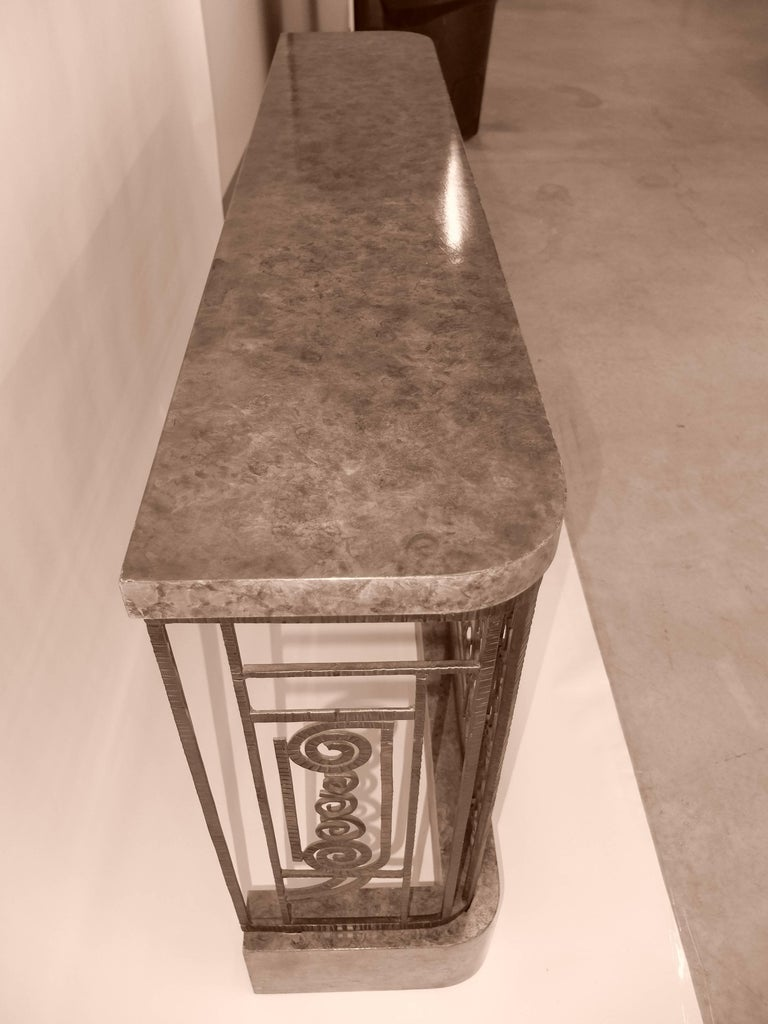 Art Deco Forged Steel and Burl Console with Ocean Liner Motif For Sale 2