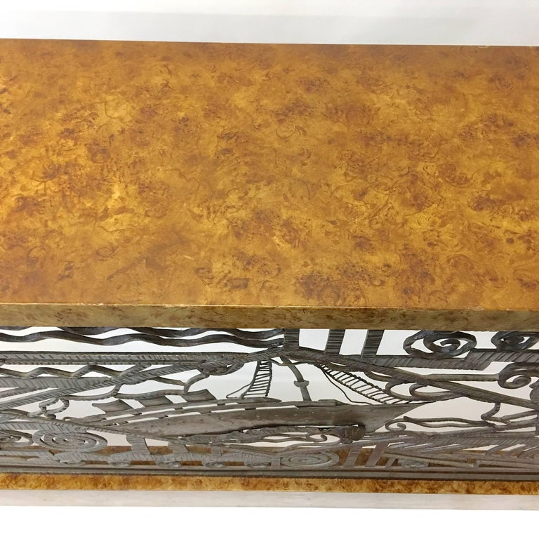 Art Deco Forged Steel and Burl Console with Ocean Liner Motif In Good Condition For Sale In Hingham, MA