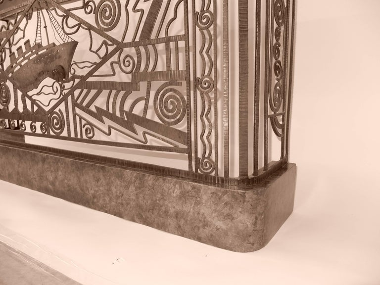 Art Deco Forged Steel and Burl Console with Ocean Liner Motif For Sale 1