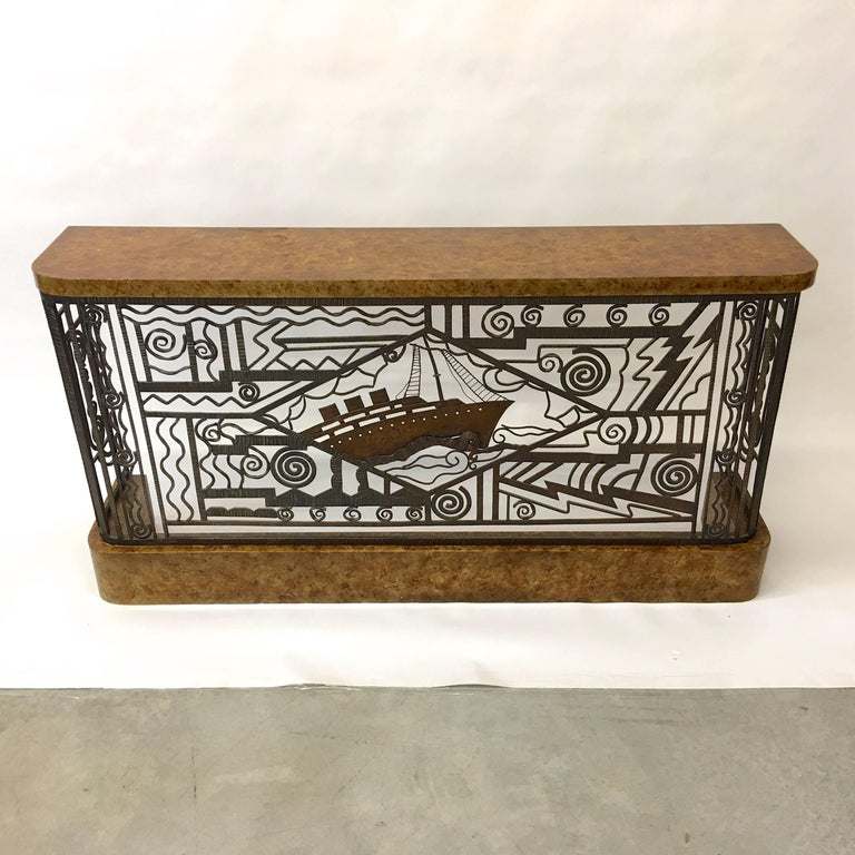 Art Deco Forged Steel and Burl Console with Ocean Liner Motif For Sale 3