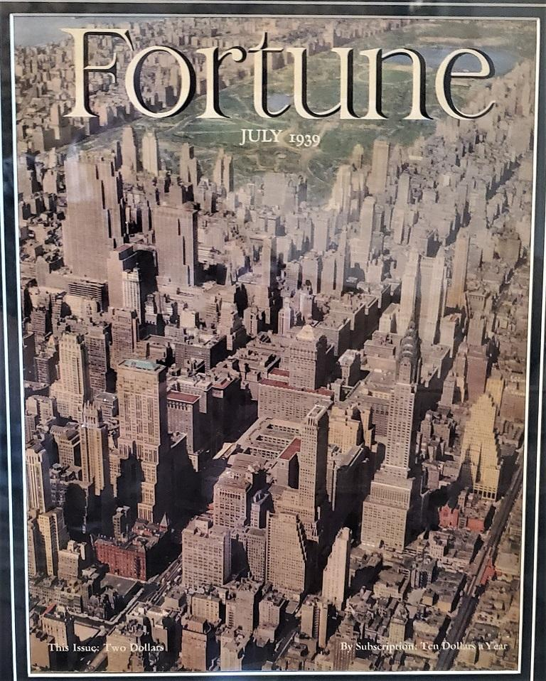 Art Deco Fortune Magazine Cover July 1939, Manhattan Skyline In Good Condition For Sale In Dallas, TX