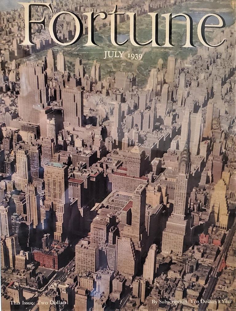 Art Deco Fortune Magazine Cover July 1939, Manhattan Skyline For Sale 1