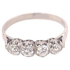 Art Deco Four Old Mine Cut Diamond Platinum Ring