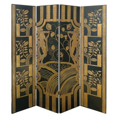 Art Deco Four Panel Screen with Nymph and Nature Motif in Gold Leaf, circa 1930s