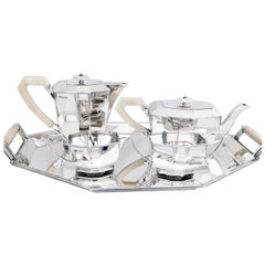 Art Deco Four Piece Sterling Tea Set with Matching Tray