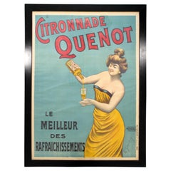 Art Deco Framed Parisian Art Poster Signed G. Smith Stamped Citronnade Quenot