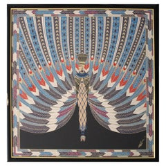 Art Deco Framed Scarf Reproduction of Erte Egyptian Nile