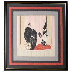 Art Deco Framed Scarf Reproduction of Erte L'Opera