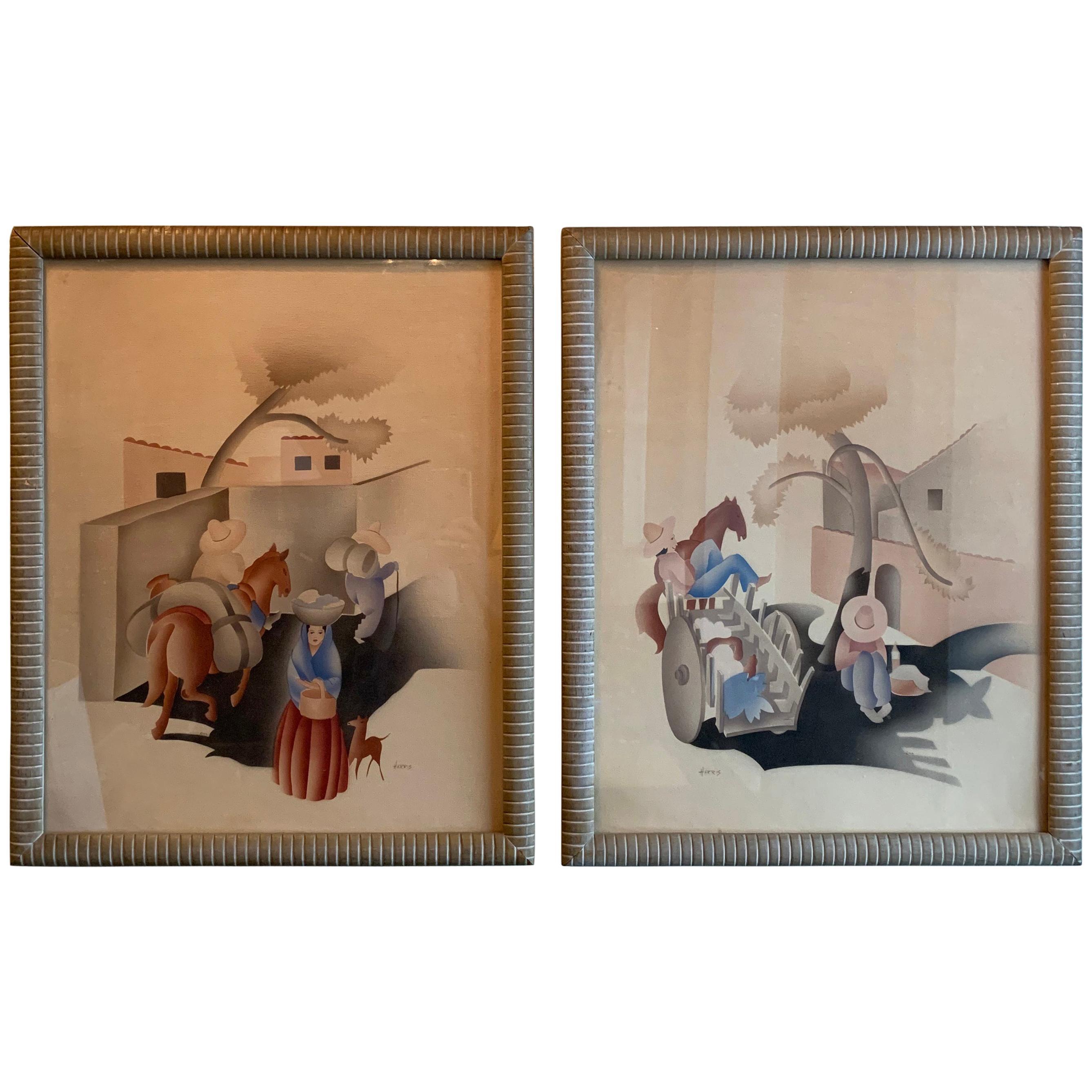 Art Deco Framed Watercolor Airbrush Paintings by Benjamin Jorj Harris