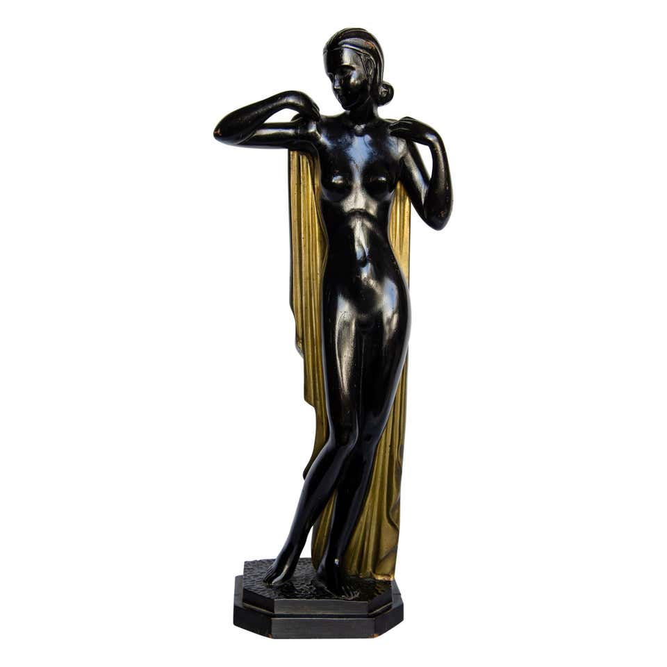 French Art Deco Style Nude Danseuse Bronze Statue at 1stDibs
