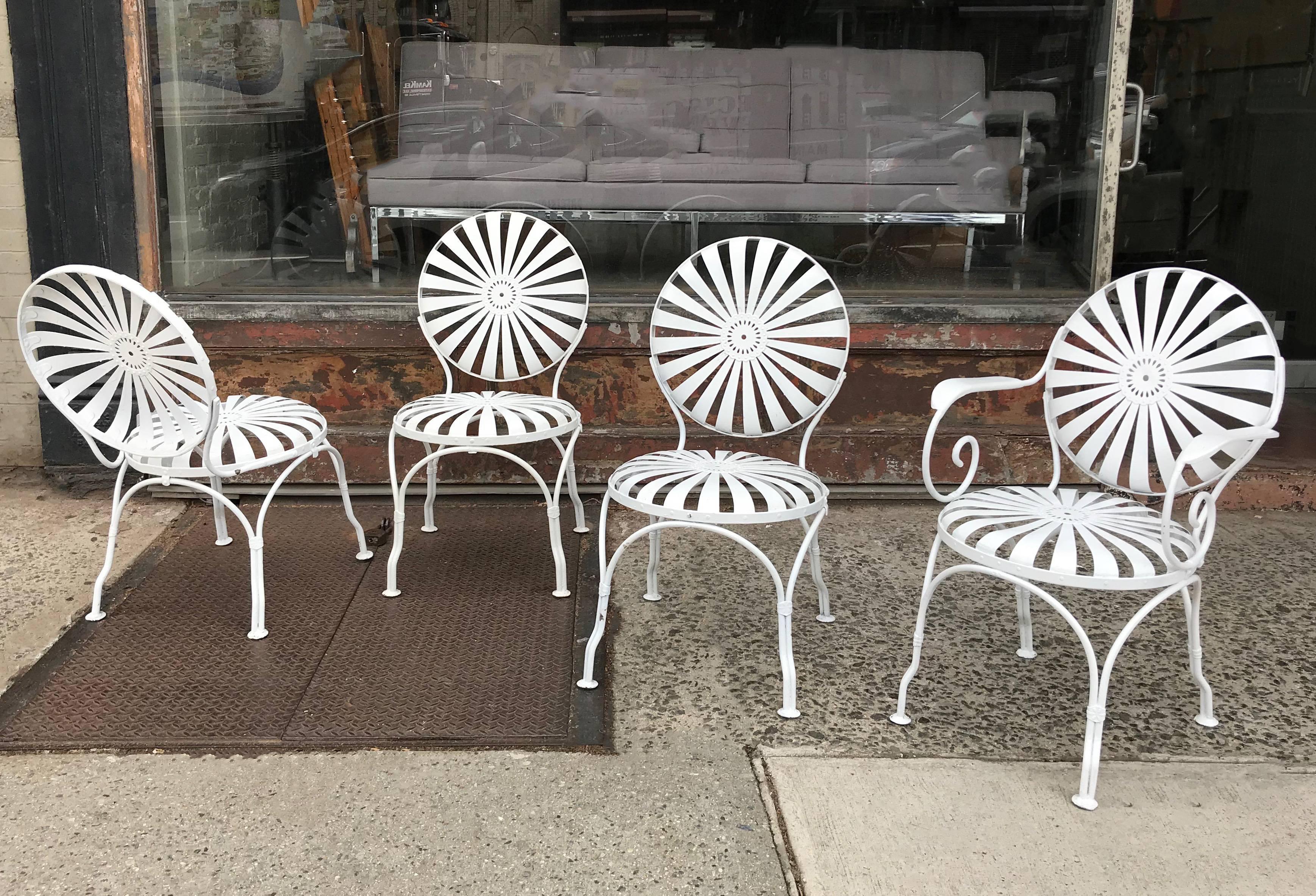 art deco francois carr wrought iron sunburst outdoor patio chair rh 1stdibs com pavilion sunburst outdoor furniture
