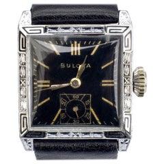 Art Deco Franklin Bulova 14k White Gold Filled Gents Watch, Serviced, c1928