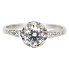 Art Deco French 0.90 Carat Diamond Solitaire Platinum Ring
