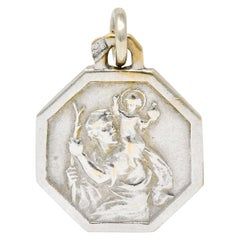 Art Deco French 18 Karat White Gold Saint Christopher Charm