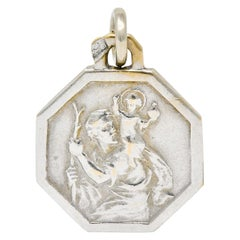 Art Deco French 18 Karat White Gold St. Christopher Charm