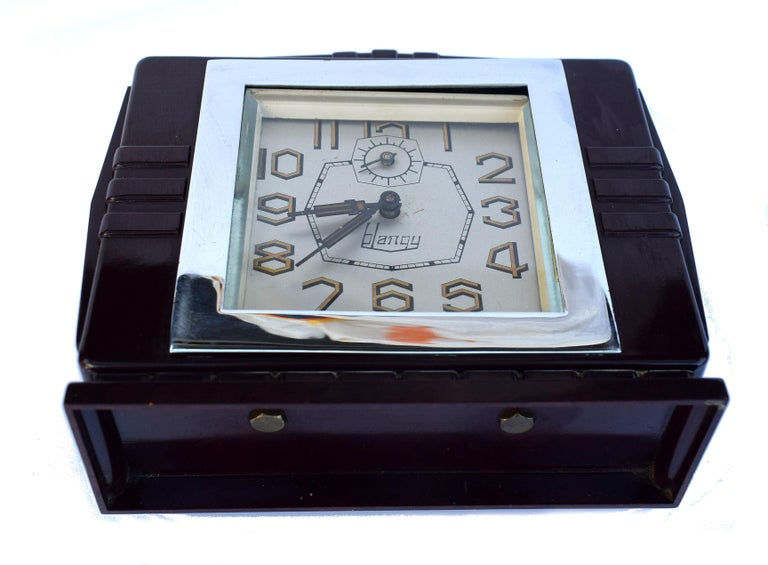 Chrome Art Deco French 1930's Bakelite Clock by Blangy For Sale