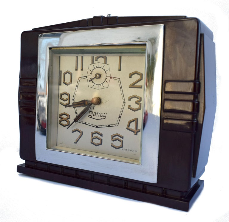 Art Deco French 1930's Bakelite Clock by Blangy For Sale 1