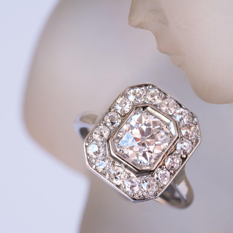 Cushion Cut Art Deco French 2.60 Carat Diamond Platinum Ring For Sale