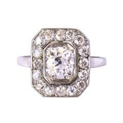 Art Deco French 2.60 Carat Diamond Platinum Ring