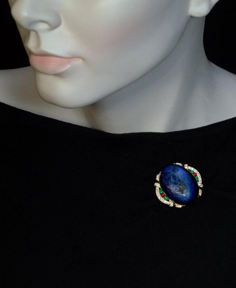 Art Deco French Azurite Malachite Diamond Enamel Brooch In Excellent Condition For Sale In Chicago, IL