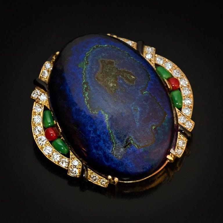 Women's or Men's Art Deco French Azurite Malachite Diamond Enamel Brooch For Sale