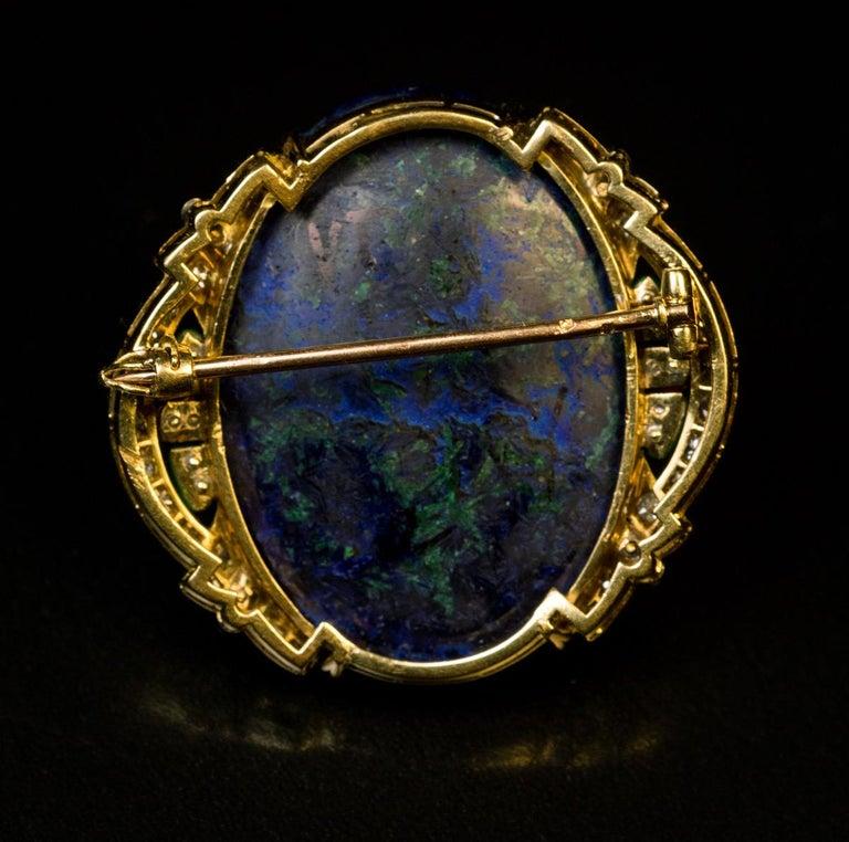 Art Deco French Azurite Malachite Diamond Enamel Brooch For Sale 1