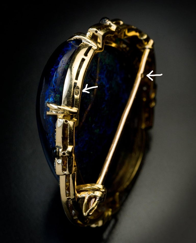 Art Deco French Azurite Malachite Diamond Enamel Brooch For Sale 2