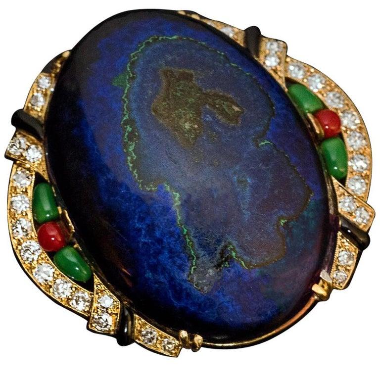 Art Deco French Azurite Malachite Diamond Enamel Brooch For Sale
