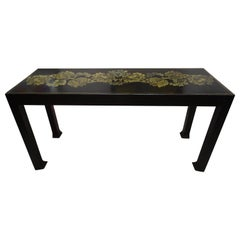 Art Deco French Black Console, Golden Flowers by Atelier Martine, Paul Poiret