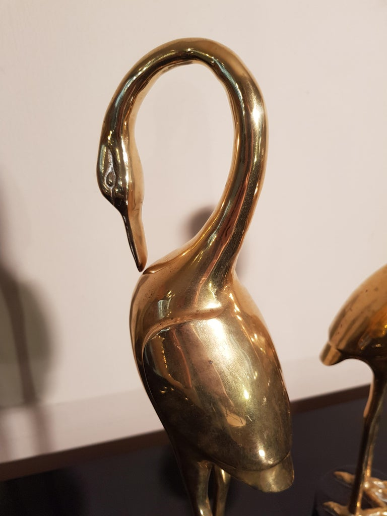 Art Deco French Brass Herons 1940s set of two animal sculptures For Sale 8