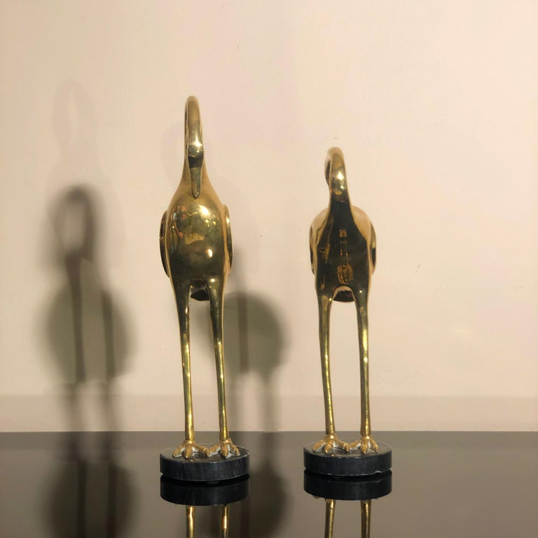 Mid-20th Century Art Deco French Brass Herons 1940s set of two animal sculptures For Sale