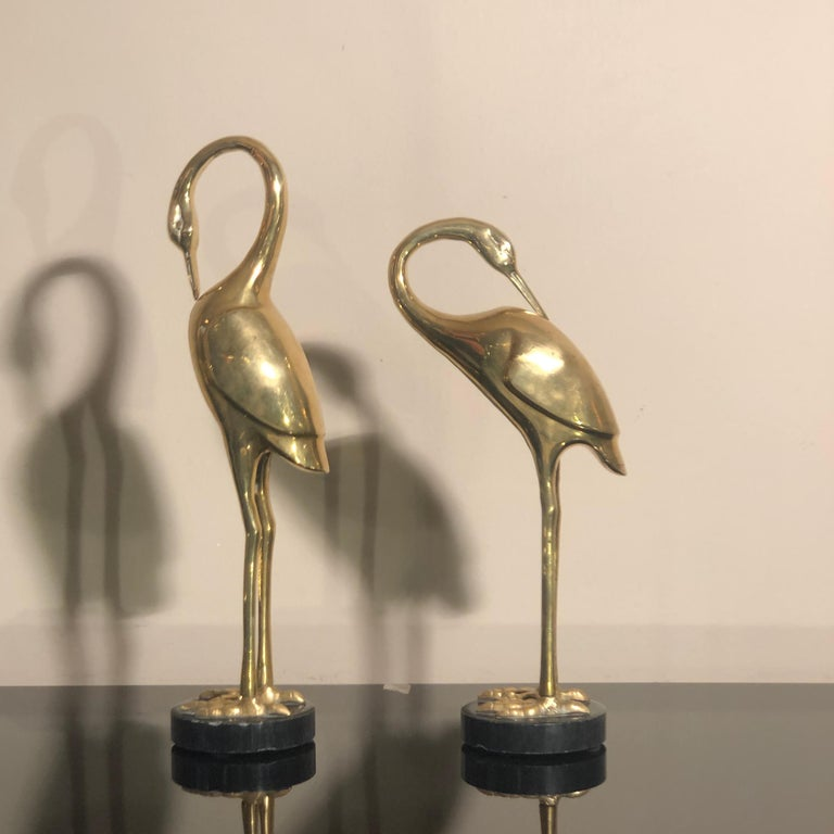 Art Deco French Brass Herons 1940s set of two animal sculptures For Sale 1