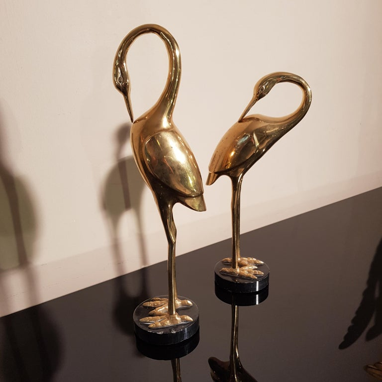 Art Deco French Brass Herons 1940s set of two animal sculptures For Sale 2