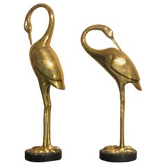 Art Deco French Brass Herons 1940s set of two animal sculptures