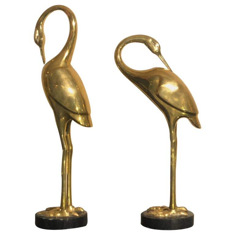 Art Deco French Brass Herons 1940s set of two animal sculptures For Sale