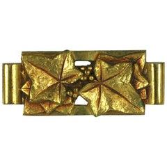 Art Deco French Bronze Ivy Brooch