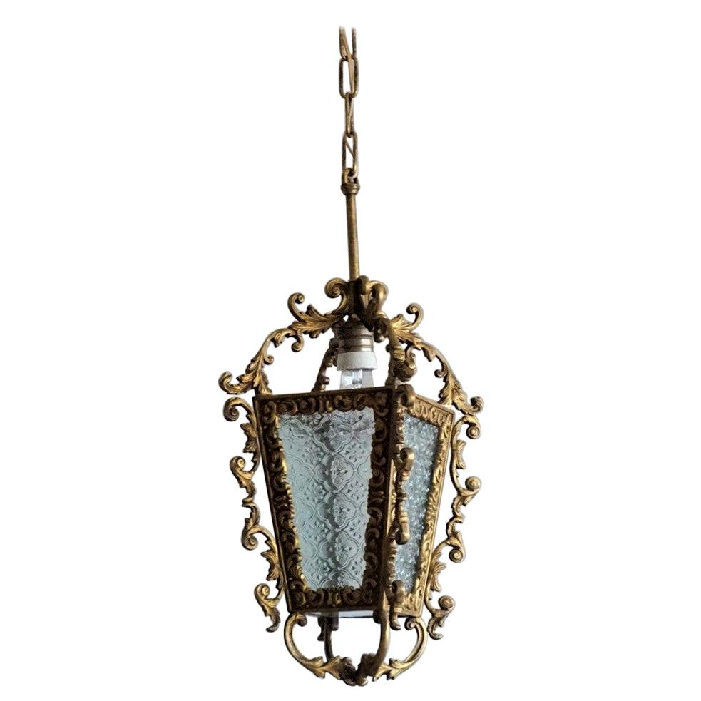 Art Deco French Bronze Molded Glass Hall Lantern, 1930s