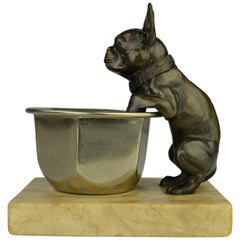 Art Deco French Bulldog Figurine Hanging over a Bowl Mounted on Marble Base