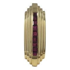 Art Deco French Burma Ruby Gold Clip Brooch