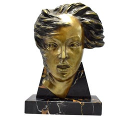 Art Deco French Bust on Marble Base, circa 1930