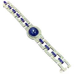 Art Deco French Cabochon Sapphire and Enamel Diamond Bracelet