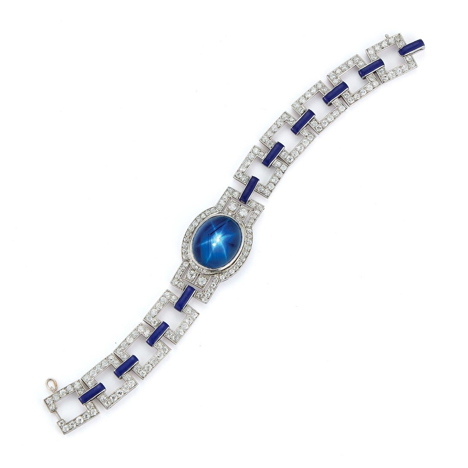 Art Deco French Cabochon Sapphire and Enamel Diamond Bracelet