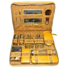Art Deco French Case in Men's Toilette Cognac Color Leather, 1930